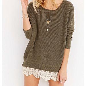 Army Green Lace Trim Sweater
